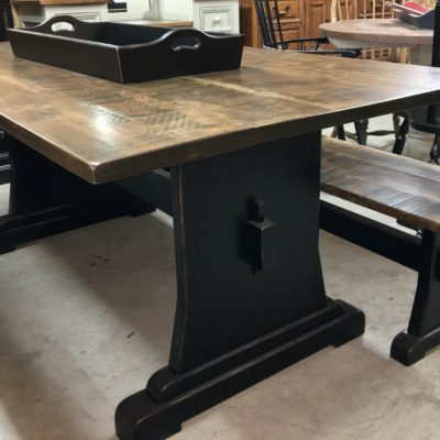 Hardwood Trestle Harvest Table